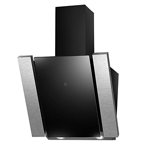 Campana Campana extractora de pared (60 cm, acero inoxidable, cristal negro, silencioso,...
