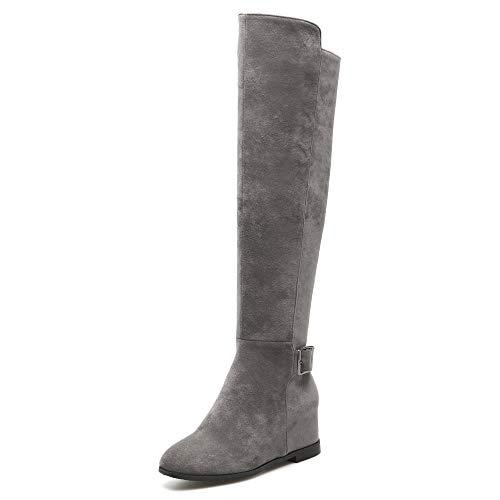 Damen Oberschenkel Hoch Hohe Stiefel Overknees Keil Stiefel Flache Reißverschluss Stiefel Schuhe,Grey-EU:44=13B(M) US - Breite Breite Oberschenkel Hohe Stiefel
