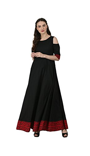 Anjushree Choice Women's Cotton Kurti (Black_X-Large)
