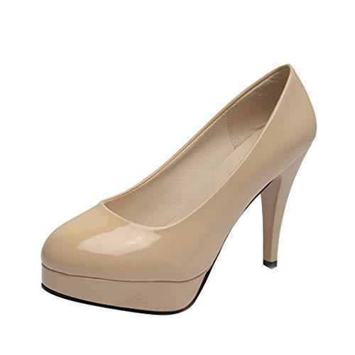 les Gericht Schuhe, Mode Peep Toe Pumps Lackleder Einfarbig Slip On Platform Schuhe Stilettos für Hochzeitsgesellschaft Club Kleid ()