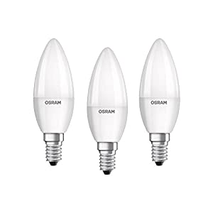 Osram LED Base Classic B Lampe, 5 W - Kerzenform mit E14-Sockel, nicht dimmbar, Ersetzt 40 Watt, Matt, Warmweiß - 2700 Kelvin, 3er-Pack