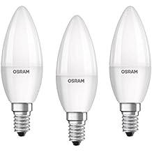OSRAM LED BASE CLASSIC B - Lámpara, forma mini vela clásica, con casquillo enroscable, 240 V, color blanco cálido, pack con 3 unidades