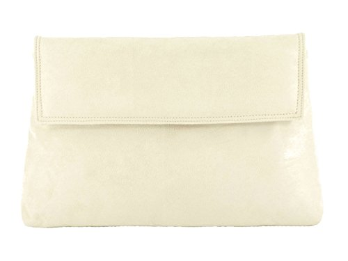 Loni, Damen Clutch Schwarz Schwarz M Cream Off-white