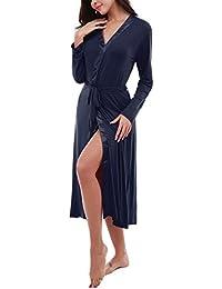 Dromild Albornoz Suave para Mujer Albornoz Modal Kimono Largo para Dormir Ropa de Dormir S-
