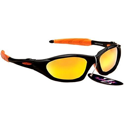 Rayzor profesionales ligeros negros UV400 Deportes Wrap ciclismo Gafas de sol, con un anti-deslumbramiento de lente espejo Oro Iridium Revo