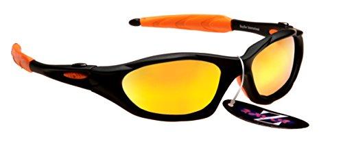 Rayzor Professionelle Leichte UV400 Schwarz Sports Wrap Laufen Sonnenbrille, mit Gold Iridium Mirrored Blend Lens.