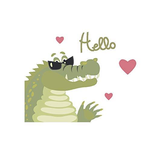 Krokodil Liebe Sonnenbrille mit Hallo Wandaufkleber Glasfenster Küchentür Kühlschrank Aufkleber