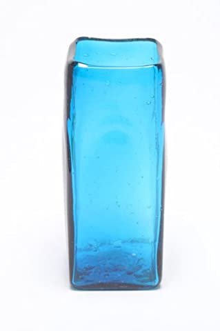 Square Vase, recycled, handblown glass (6x15cm) - Turquoise