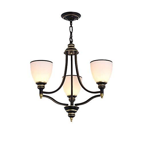 23-in 3-Licht Kronleuchter Eisen Glas Lampenschirm Öl eingerieben Bronze Decke Pendelleuchte Hängelampe Vintage Retro Beleuchtung mediterranen Stil für Schlafzimmer Wohnzimmer Küche Esszimmer (Up -