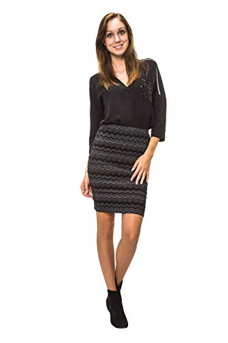ONLY Damen Bleistiftrock Jersey Rock Stretch Bodycon Businessrock (XS, Black/Zigzag)