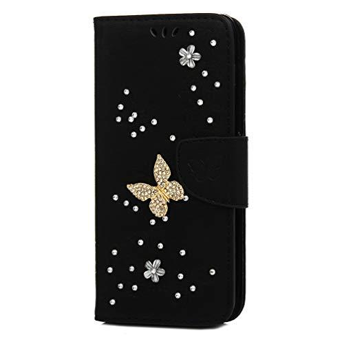 Mlorras Hülle für Samsung Galaxy S10+ 6.4 Zoll / S10 Plus, Geprägter Strass Vorne schnallen Leder Handyhülle Klappbares Brieftasche Schutzhülle Wallet Case mit Integrierten Kartensteckplätzen Schwarz -
