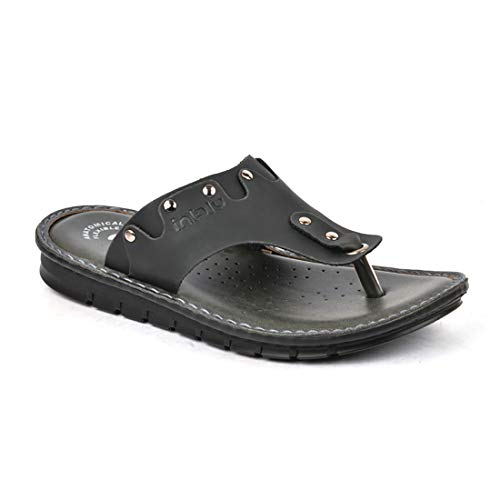 INBLU Executive look Mens sandal for formal and casual use – colour Black - Size 6 to 11 Inch – office Chappal for mens – stylish slippers for men – Stylish shoe for men – mens sandal casual – Shoes for mens