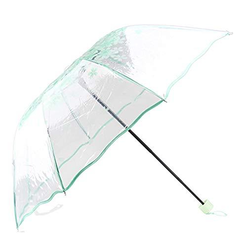 LZX Romantische Kirschblüten Transparente Umbrella Kreative dreifache Schirm-Persönlichkeit Falten Dach-Kunst Umbrella Frühling und Sommer Mode Kleine frische Prinzessin Umbrella,Green