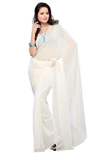Navyata Damen Kleid weiß weiß Einheitsgröße Gr. One size, weiß (Sari Indische Weiße)