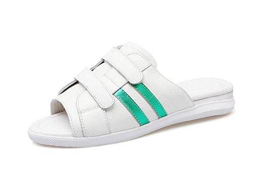 SHINIK Frauen Sandalen Sommer Neue Leder Klett Sandalen Flatform Schuhe Weiß Sandalen Hausschuhe Slip-On Open Zurück Hausschuhe Schwarz White