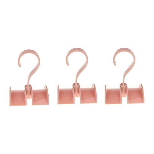 MagiDeal 3er Set Schrank Schuhgestell Organizer Drehbarer Haken Hängende Kleiderbügel für Krawatten Schal Tasche Schuhe Mantel Hut Gurt Regenschirm - Rosa