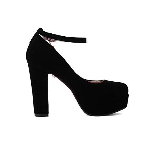 VogueZone009 Femme Boucle Rond à Talon Haut Suédé Couleur Unie Chaussures Légeres Noir