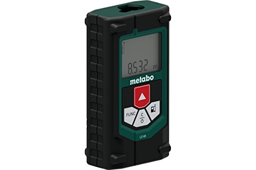 Metabo 606163000 Laser Distanzmessgerät LD 60   + Gürteltasche, 2 Batterien AAA 1,5 V (LR03)   Funktionen: Länge, Fläche, Volumen, Tracking, Pythagoras ½ (Laserklasse: 2 / Schutzart IP 40)