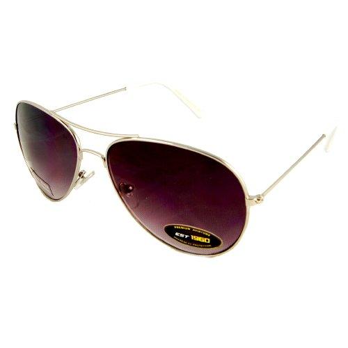 KHAN (6 Pack) AIR FORCE Sunglasses Aviator AF8AV01CLR - White