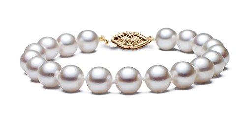 14 K amarillo oro Hanadama calidad blanco japonés de la pulsera de la perla de Akoya cultivada, 17,78 cm