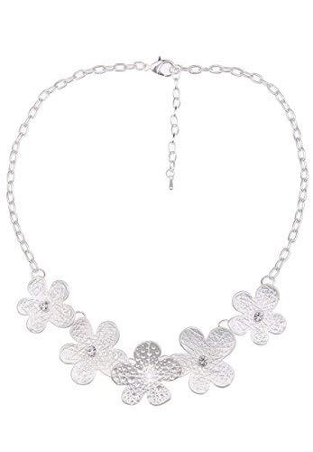 Leslii Damen-Kette Blumen-Kette Strass-Blüten Collier Kurze Halskette Silberne Modeschmuck-Kette in Silber Matt Weiß