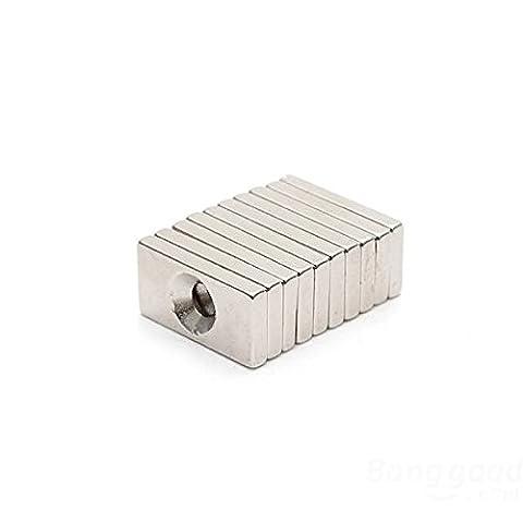 [Envoi Gratuit] 10PCS 20x10x3mm néodyme trou 4mm aimant de terre Rare // 10PCS 20x10x3mm Neodymium Magnets Hole 4mm Rare Earth Magnet