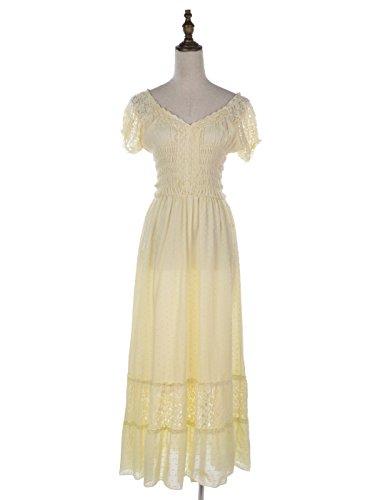 Anna-Kaci Bohême style Paysan jeune fille inspiré chapeau Blanc manche dentelle garniture robe grande Beige