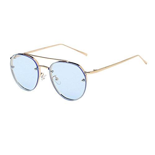 TTLOVE Rund Sonnenbrille Metallrahmen Marke Classic Tone Mirr Runde Retro Vintage Polarisierte Linsen Metall Gestell Rundbrille Hippi Brille OutdoorBrille FüR Frauen Und MäNner (D)