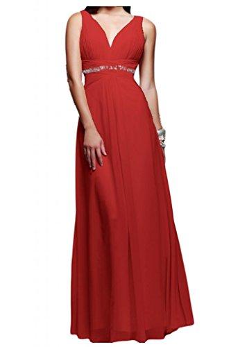 Toscane mariée simple chiffon abendkleider 2–support de longueur fixe party ballkleider demoiselle d'honneur Rouge - Rouge