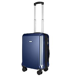 Amasava Maletas de Viaje Rigidas, Equipaje de Mano 76.5 * 45.5 * 29.5CM 103L con 10% de Espacio de Expansión PC+ABS Equipaje de Viajes en Avión con Cerradura TSA Azul Marino