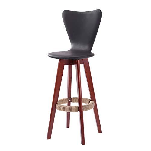 MMM- Einfaches, festes Holz, kann gedrehtes Kunstleder-Kissen, dunkler Schemel-Bein-Stab kreativer Hochstuhl-europäischer hölzerner Stuhl Weinlese-Bar-Schemel Höhe 71cm Sein Hocker (Farbe : Schwarz) -