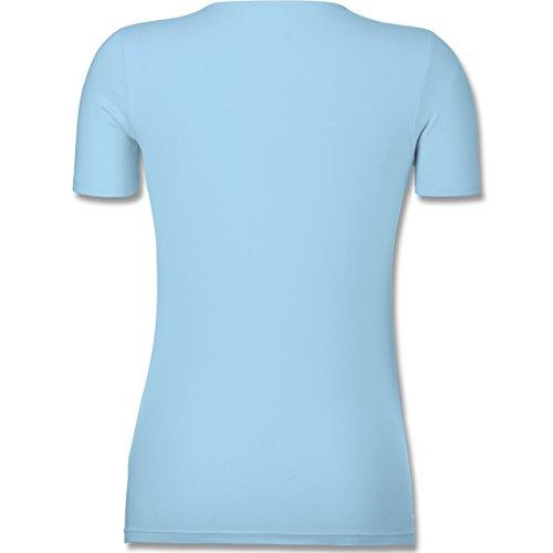 Statement Shirts - Einhorn Totenkopf - Tailliertes T-Shirt mit V-Ausschnitt für Frauen Hellblau