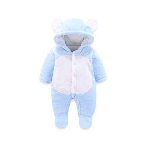 Baby Strampelanzug mit Füssen, Mütze für Jungen und Mädchen, mit Kapuze, für 0-12 Monate, Halloween, Cosplay-Kostüm 0-3 Monate blau