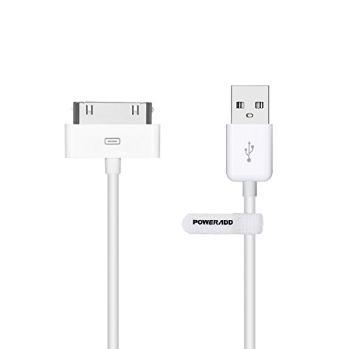 POWERADD Apple MFi Zertifiziert 1,2m USB Kabel mit 30 Pin Anschluss Apple Synchronisieren-und Laden-Kabel Datenkabel für iPhone 4 4S, iPad 1 2 3, iPod Touch, iPod Nano Ipod Touch 2g