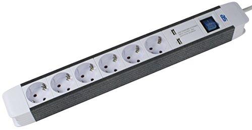 as - Schwabe 6-fachSteckdosenleiste mit 2 USB Ports, Schalter und Kinderschutz, 1,5 m Kabel, Schuko-Stecker, weiß, 18212