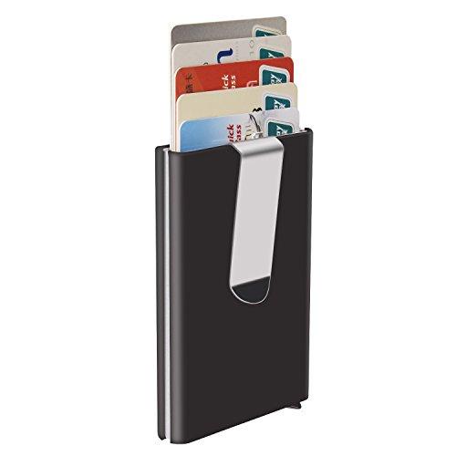 YaFex-Pinzas-para-Billetes-Caja-de-la-Tarjeta-RFID-Bloqueo-de-Aluminio-Tarjeta-de-Visita-Pop-up-Automtico-Tarjeta-hasta-5-Tarjetas-o-15-Tarjetas-de-Visita-Negro-con-Clip-de-Dinero