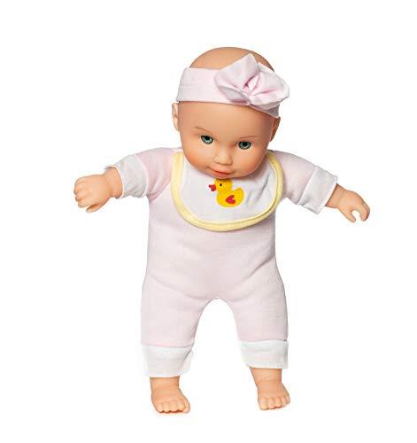 Weiche Babypuppe für Mädchen sehr niedlich und klein - Ab 1-2 Jahren geeignet (Rosa mit Stirnband)