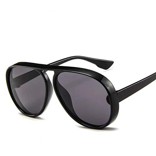 QBMWFC Vintage Pilot Sonnenbrille Männer Candy Farbe Big Frame Dicke Bordersun Brille Für Frauen Pc Classic Outdoor Travel, Schwarz Grauschwarz Grau