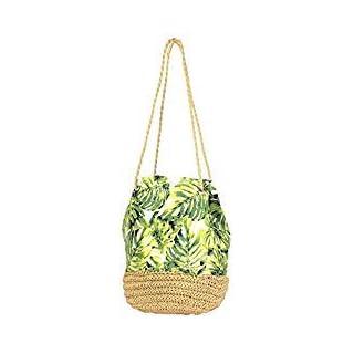 Auliné Collection Tropical Print Straw Woven Bucket Shoulder Canvas Bag Backpack - TP Shoulder Bag
