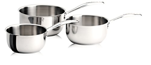 Cristel - CWMS3C- Série de 3 casseroles inox 16-18-20cm sans couvercle - Collection Cookway