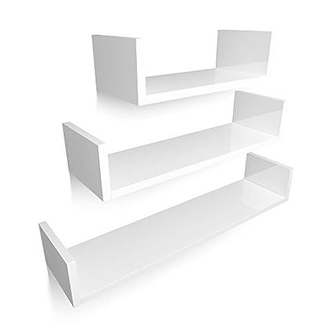 HOMFA U-Form Wandregal Wandboard 3er Set Regal Hängeregal Bücherregal Büroregal Raumteiler Holzregal Treppenregal MDF-Holz weiß perfekt für Bücher, CD, DVD, Deko