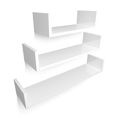HOMFA U-Form Wandregal Wandboard 3er Set Regal Hängeregal Bücherregal Büroregal Raumteiler...