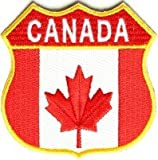 Aufnäher, bestickt, Aufnäher, zum Aufbügeln, bestickt, Kanadischer Schild – Flagge Kanada – 2,75 x 2,75 Zoll