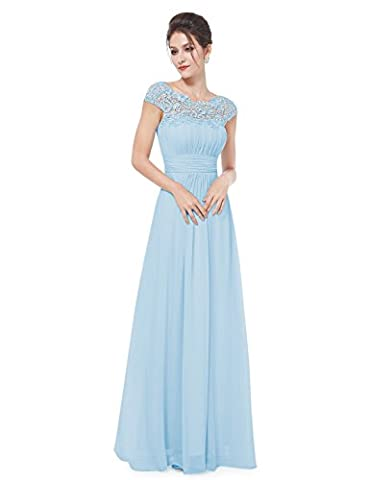 Ever Pretty Womens Cap Sleeve Lace Neckline Ruched Bust Evening Dress 10 UK Blue EP09993BL06