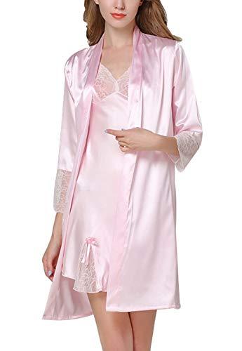 Aivtalk - Ensemble 2 Pièce Chemise de Nuit Femme en Soie Artificielle Robe de Chambre Manches 3/4 Robe de Nuisette avec Dentelle Couleur Rose Taille 40-42