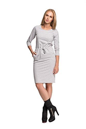 Futuro Fashion Classique Femmes Robe Mi-longue Avec Poches Tunique Grande Taille Tailles 8-14 FA477 Cendre