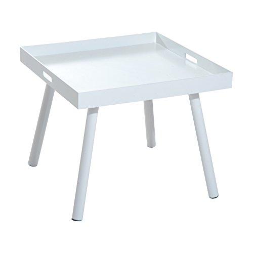 Homcom Table Basse carré Style Contemporain 60 x 60 x 50 cm Bois Massif et mélaminé Blanc