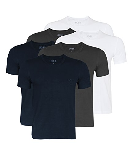 Hugo Boss Herren T-Shirts Business Shirts Crew Neck 50325887 6er Pack Blau (Open Blue 477)