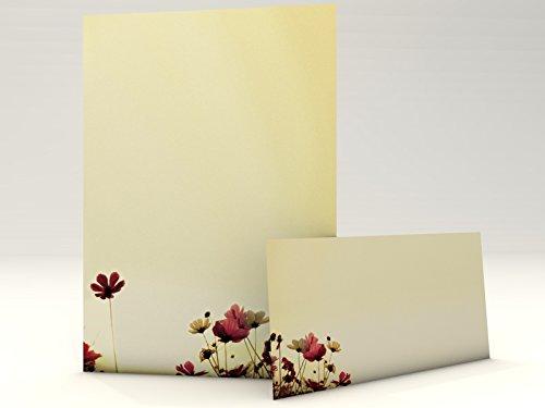 Motivpapier-Set 'Sunny Flowers, 20Blatt A4+ 20komplett bedruckte Briefumschläge DIN LANG,...