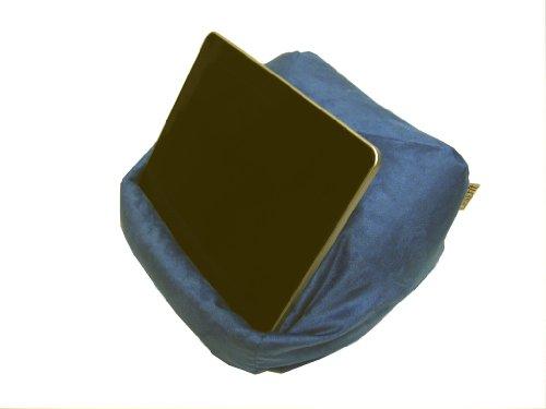 Preisvergleich Produktbild LESEfit® soft antirutsch Lesekissen, Tablet Kissen, echter Sitzsack für iPad * Buch & eReader (multifunktionale Quader-Form) Wildleder-Imitat – blau